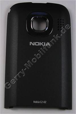 Akkufachdeckel schwarz Nokia C2-03 original B-Cover Batteriefach chrome black