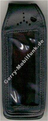 Ledertasche schwarz mit Gürtelclip Alcatel 501
