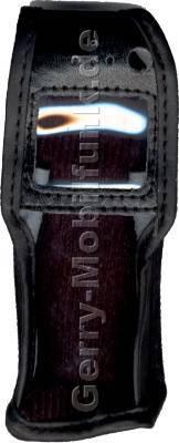 Ledertasche schwarz mit Gürtelclip Alcatel 701