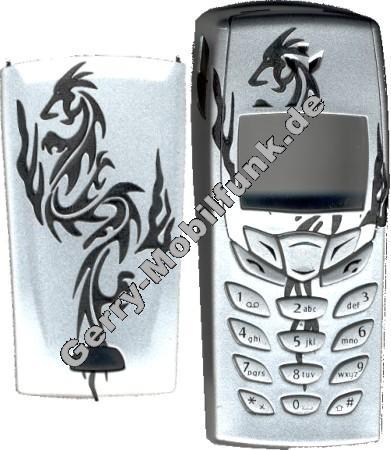 Gravur-Cover für Nokia 6510 Drache Silber keine originale Oberschale