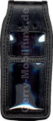 Ledertasche schwarz mit Gürtelclip Alcatel 525
