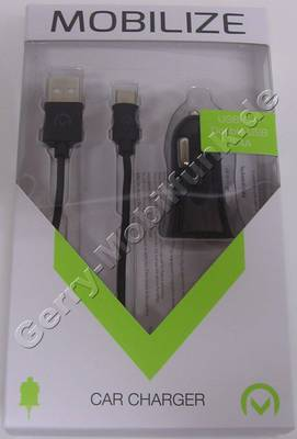 Dual USB KFZ-Ladekabel für BlackBerry DTEK60, Autoladekabel von Mobilize, Auto-Netzteil für Zigarettenanzünder mit intelligenter Ladeelektronik, Lieferung mit 1 Meter langem USB Typ-C Kabel das auch als Datenkabel verwendet werden kann. 2,4A gesamt Leistung der USB-Anschlüsse