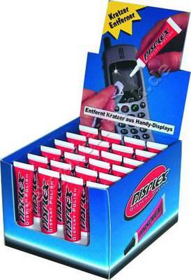 24 Displex Tuben im Aufsteller  Polierpaste zum aufpolieren von Kunststoffgläsern (ca 10 Anwendungen für Handydisplays)
