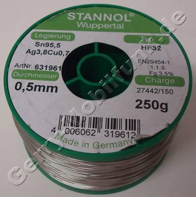 Stannol Bleifreier SMD-Lötdraht 250gramm 0,5mm SN95,5 AG3,8 Cu0,7 ( Flussmittel nach DIN EN 29454-1 1.1.3.B 3,5% )