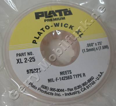 Lötsauglitze Plato-WICK XL XL 2-25, Breite:1,5mm  Länge: 7,6m  ( Entspricht der Flussmittel-Spezifikation MIL-F-14256D, Typ R ) Schnelles, einfaches Entlötverfahren durch sehr feines Kupfergeflecht