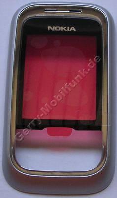Oberschale Schieber original Nokia 6111 silber schwarz, A-Cover mit Displayscheibe