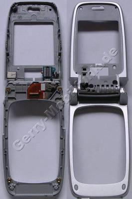Oberschale großes Display Nokia 6103 silber, original Oberschale ohne Scheibe incl. Schanier, Klappmechanik, Coax-Kabel, C-Cover + B-Cover, Oberschale Tastatur, Kabelbaum