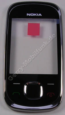Oberschale schwarz Nokia 7230 original Cover mit Displayscheibe graphite incl. Tastenmatten Men�tasten, Navi-Taste