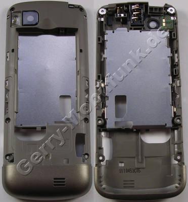 Unterschale gold Nokia C3-01 ( Touch and Type ) original C-Cover khaki gold Gehäuseträger mit Kamerascheibe, Ladebuchse, Headset Konnektor, Blitzlicht LED