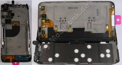Gehäuseträger Oberteil mit Mechanik Nokia E7-00 original Gehäuse vom Displayteil mit Bügeln der Klappe, Tastaturmodul der QWERTZ Tastatur, Flexkabel, Frontkamera, Menüstaturmodul, Mikrofon normales telefonieren, Headsetbuchse, Antennenkabel, Seitentasten