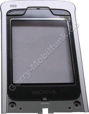 Unterschale Klappe Original Nokia N90 schwarz, Pearl Black große Displayscheibe mit Tasten, Magnet und Lautpsrecherdichtung
