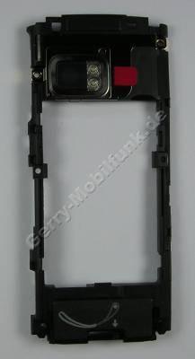 Unterschale schwarz Nokia X6 original Back Cover mit Antenne black inkl. Kamerascheibe / Kameralinse, beide Freisprechlautsprecher