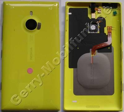 Unterschale,Akkufachdeckel gelb Nokia Lumia 1520 original unibody yellow, Rückenschale incl. Induktionsladung, Kamerascheibe, Headset Konnektor ( Kopfhörerbuchse ), Blitzlichtmodul, Seitentasten