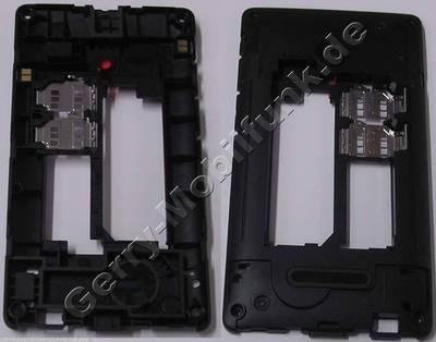 Gehäuseträger, Unterschale, Mittelcover schwarz Microsoft Lumia 435 original, D-Cover Gehäuseträger Doppelsim-Version