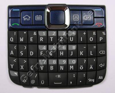 QWERTZ Tastenmatte blau Nokia E63, Tastatur ultramarin blue deutsche Belegung