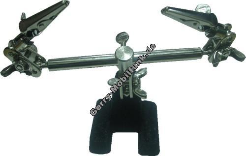 Labotrstativ Typ PCH 3, zweihändige Arbeitshilfe mit starken Greifklemmen für schnelles und zuverlässiges Halten von z.B. Leiterplatten usw. Mit schwerem gusseisernen Fuß und mehreren Kugelgelenken