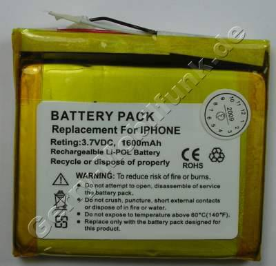 Akku für Apple iPhone Li-Polymer 3,7Volt 1400mAh 4,6mm dick ca.25g (Akku vom Markenhersteller, nicht original)