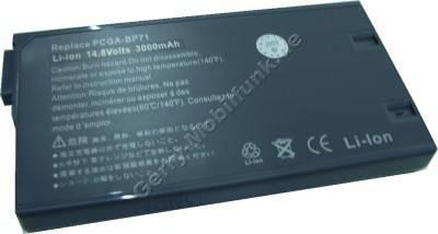 Notebook Akku für SONY VAIO PCG FX 200, Li-ion, 14,8 Volt, 2600mAh, grau (144,3 x 77,0 x 18,7mm ca.320g) Akku vom Markenhersteller