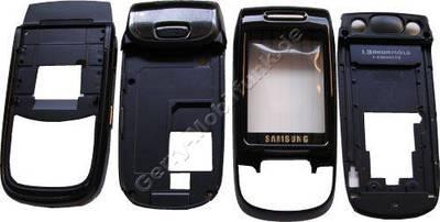 Komplettes Gehäuse Samsung D500 schwarz/blau (Oberschale,Unterschale, Slider - alle Gehäuseteile ohne Schiebemechanik Cover)