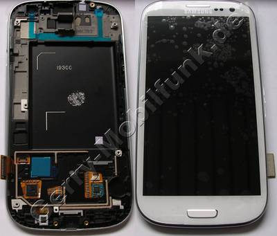Ersatzdisplay - Display - Display weiss, Displaymodul Samsung i9300 Galaxy S3 displayscheibe, Touchpanel white, incl. Oberschale und Displayrahmen, Displayglas