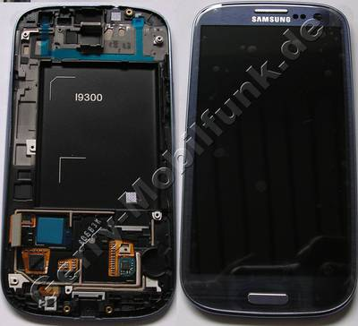 Display - Display blau, Displaymodul Samsung i9300 Galaxy S3 Displayscheibe, Touchpanel blue, incl. Oberschale und Displayrahmen, Displayglas
