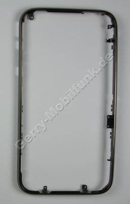 Cover Front Rahmen dunkel Apple iPhone 3G, vorderer Gehäuserahmen um das Display, Schwarz-Chrom Rahmen Oberschale dark