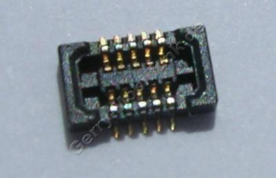 SMD Konnektor seitliches Flexkabel Nokia 5230 original Anschlußbuchse des Seitenflex auf der Platine