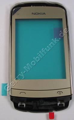 Oberschale mit Displayscheibe gold Nokia C2-03 original A-Cover golden buff mit Touchpanel, Lautsprecher, Displayglas